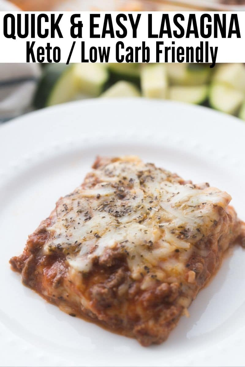 Picture of Keto Lasagna on a white place with cut up zucchini in the back ground