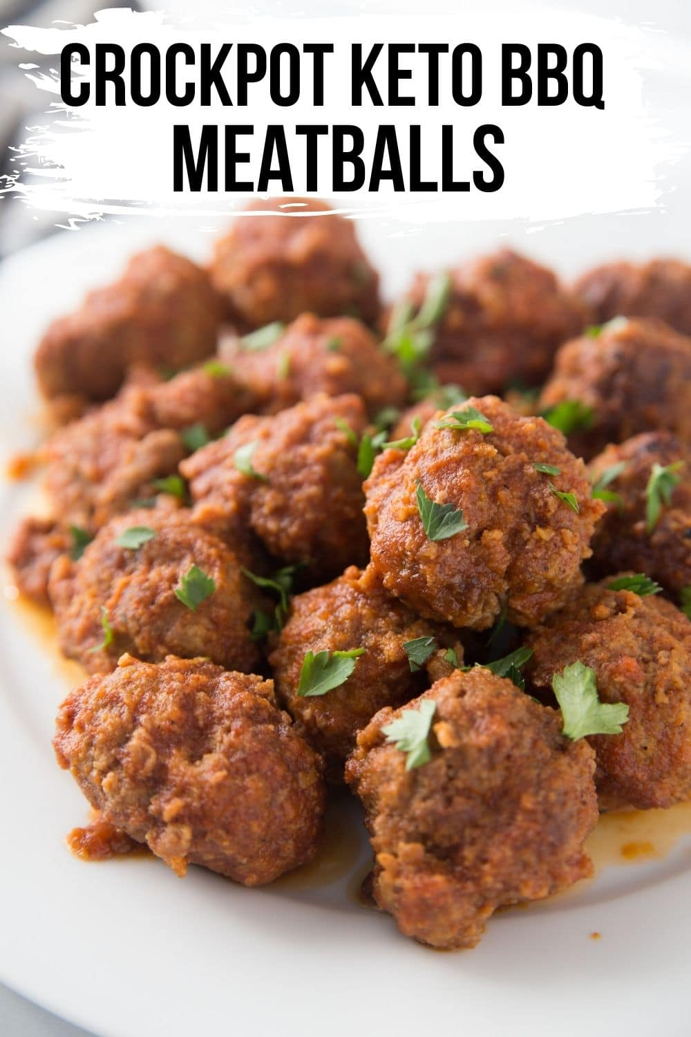 BBQ keto meatballs stacked on a platter