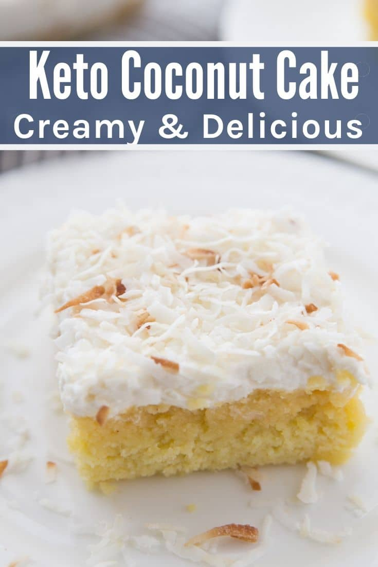 Piece of sugar-free coconut cake on a white plate