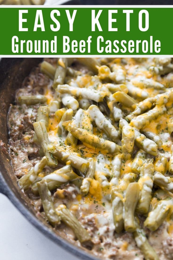 low carb ground beef casserole in a cast iron skillet fresh out of the oven