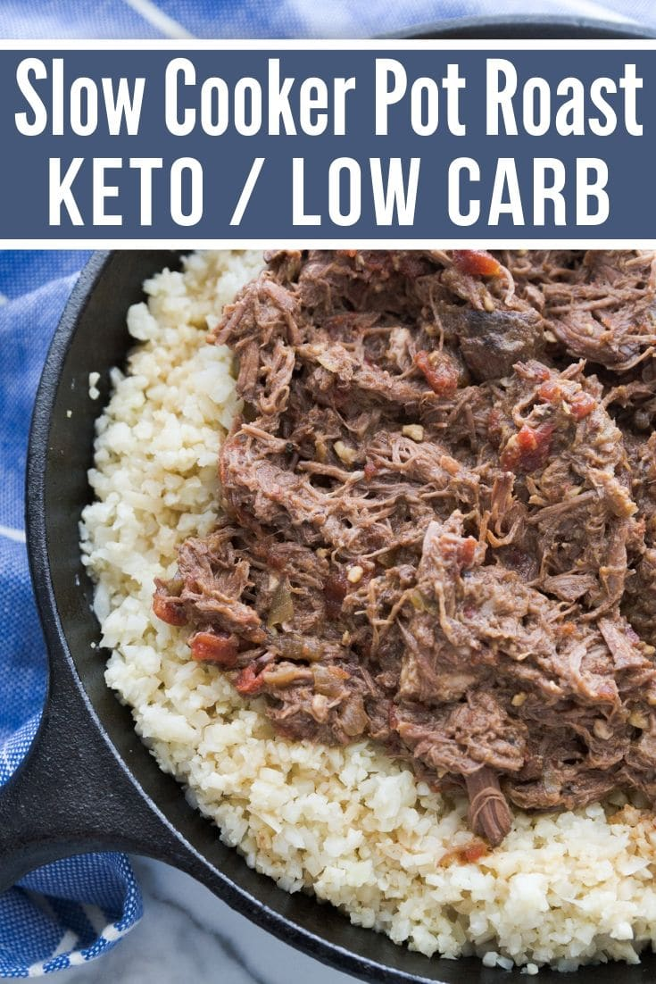 Pot Roast Crock Pot Recipe after it is done in a cast iron skillet served on top of cauliflower rice