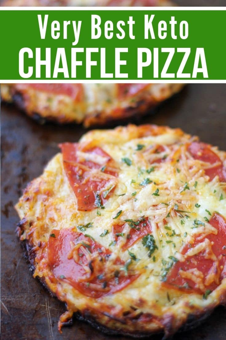 Keto Chaffle pizza on a baking sheet