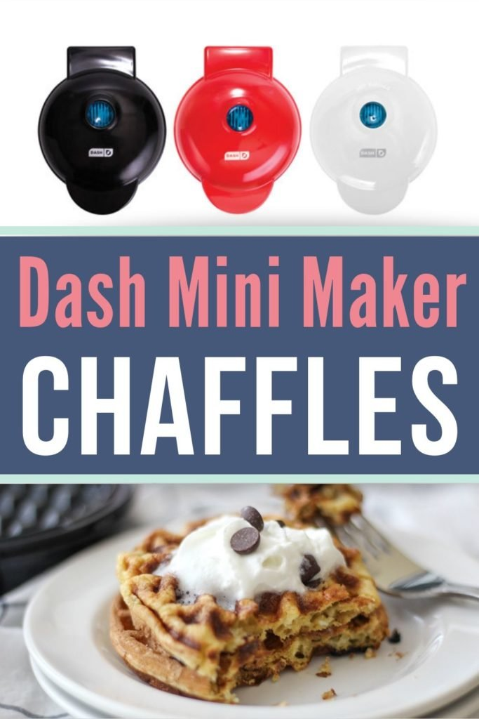 dash mini waffle maker collage with a waffle maker at the top and a chaffle at the bottom