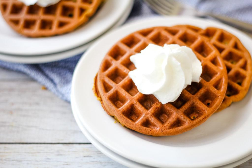 pumpkin keto waffle recipe plated
