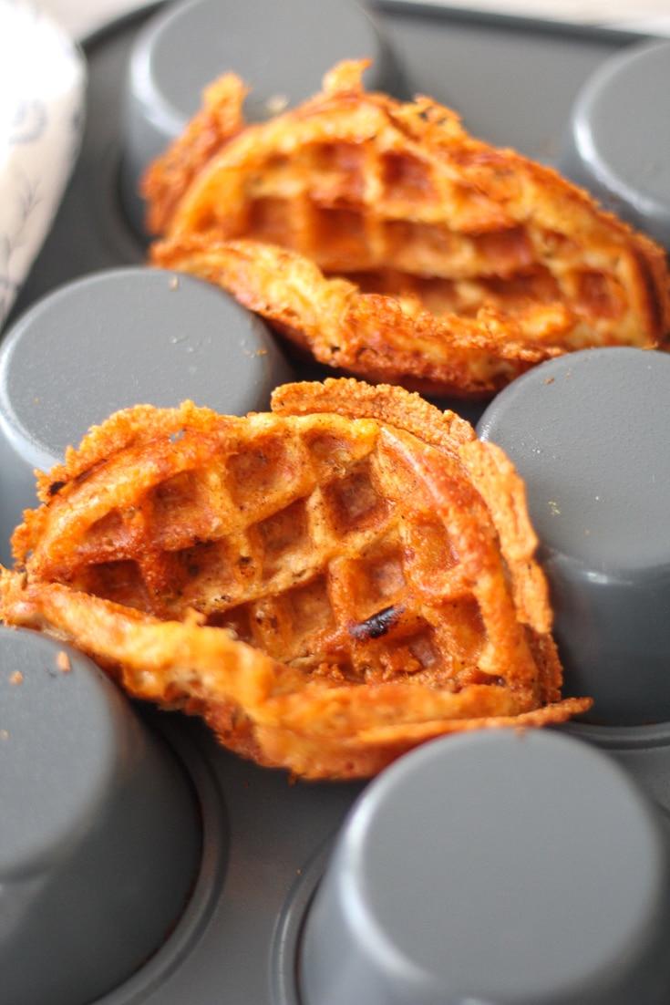 taco Chaffles on an upside down muffin tin