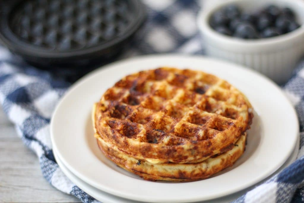 blueberry Chaffles plated