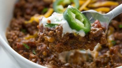 bowl of Keto Chili with shredded cheese on top