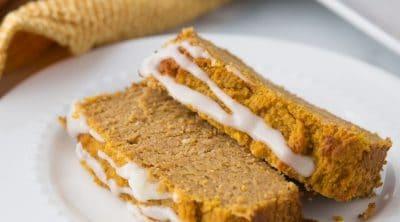 keto pumpkin bread sliced on a white plate