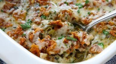 keto green bean casserole in a white casserole dish