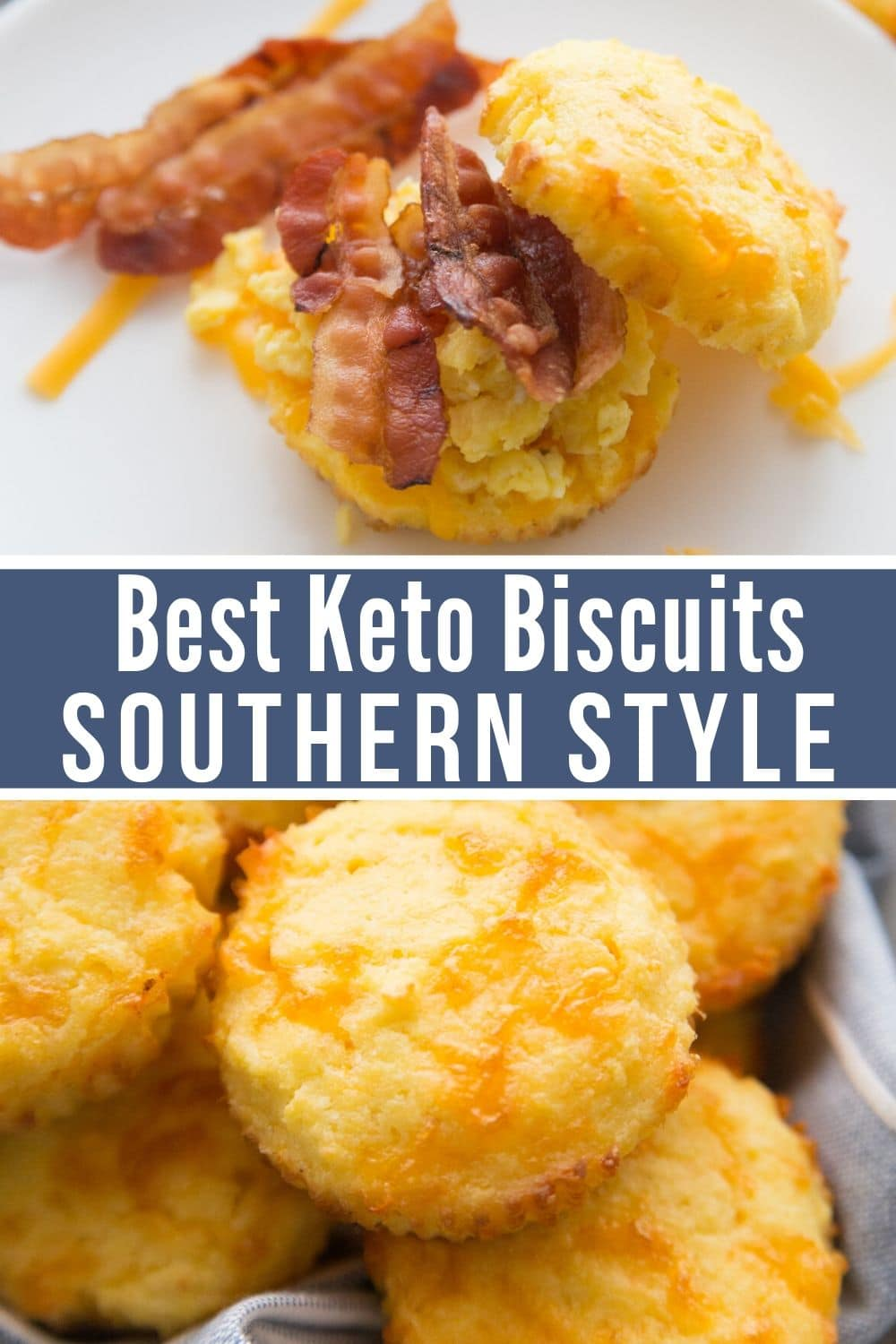 Image of the best keto biscuits with bacon and sausage on them.