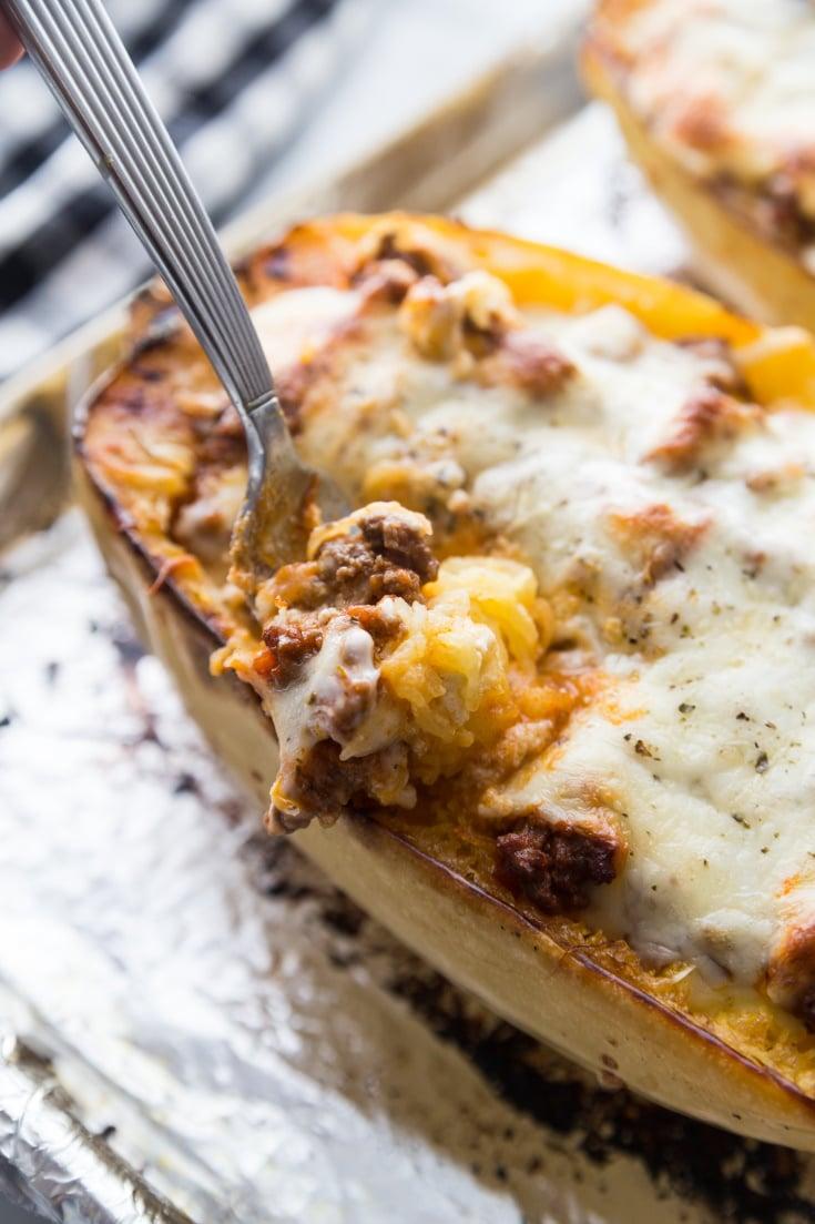 Keto Spaghetti Squash Lasagna with a bite on a fork