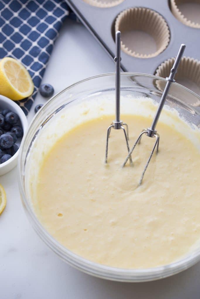 keto blueberry lemon muffin batter in a bowl