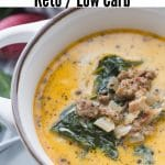 soup in a bowl with sausage and spinach