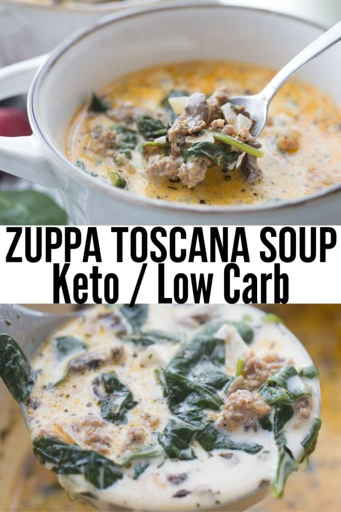 collage of two pics of tuscan soup