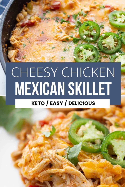collage of keto cheesy chicken skillet recipe
