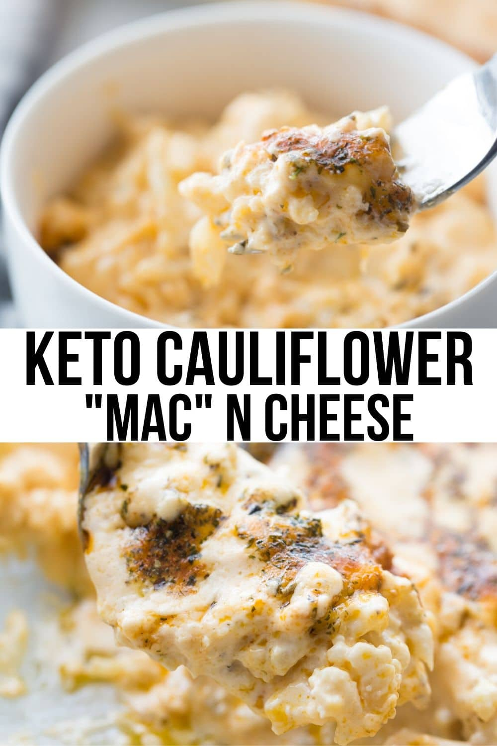 macaroni,cauliflower and cheese in a bowl collage image