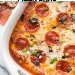 chicken with mozzarella cheese and pepperoni in casserole dish