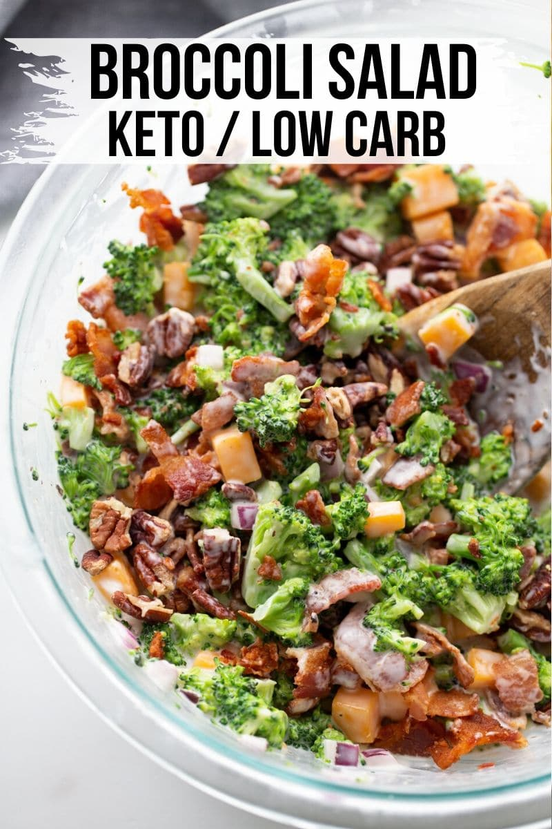 broccoli, bacon, cheese and veggies mixed together in a bowl with dressing