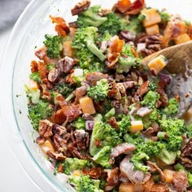keto broccoli salad featured image in a clear bowl