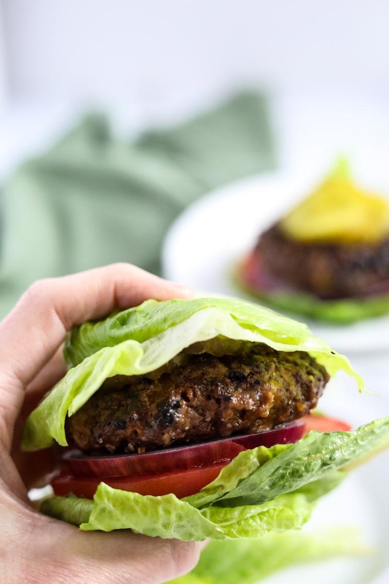 keto burger wrapped in lettuce