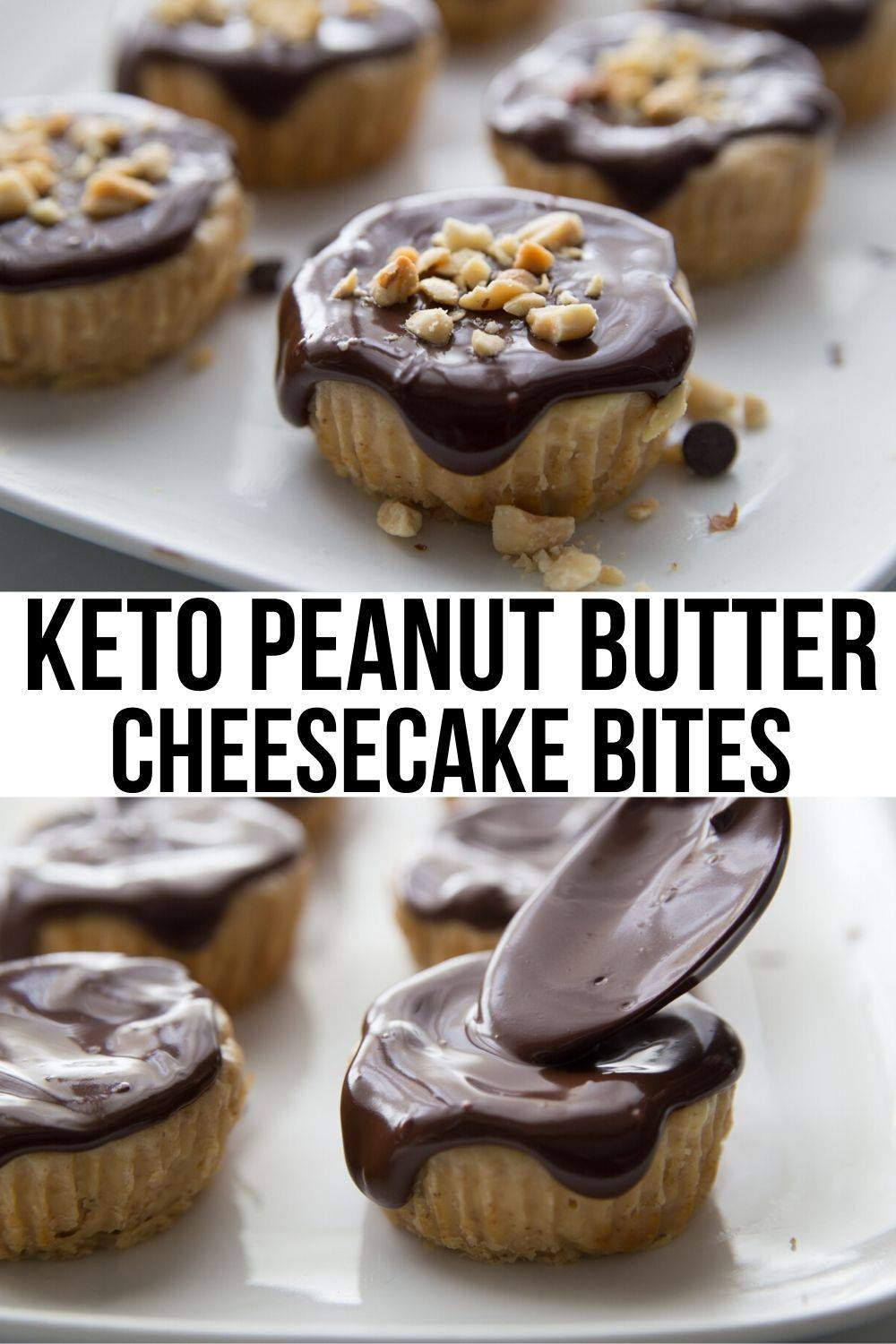 crustless cheesecake bites with two images on cheesecakes topped with chocolate sauce