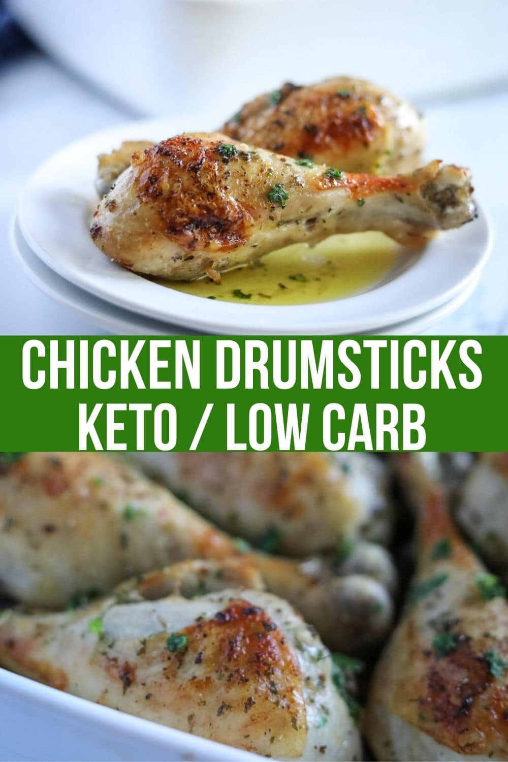 roasted chicken drumsticks on a dish with herbs on top