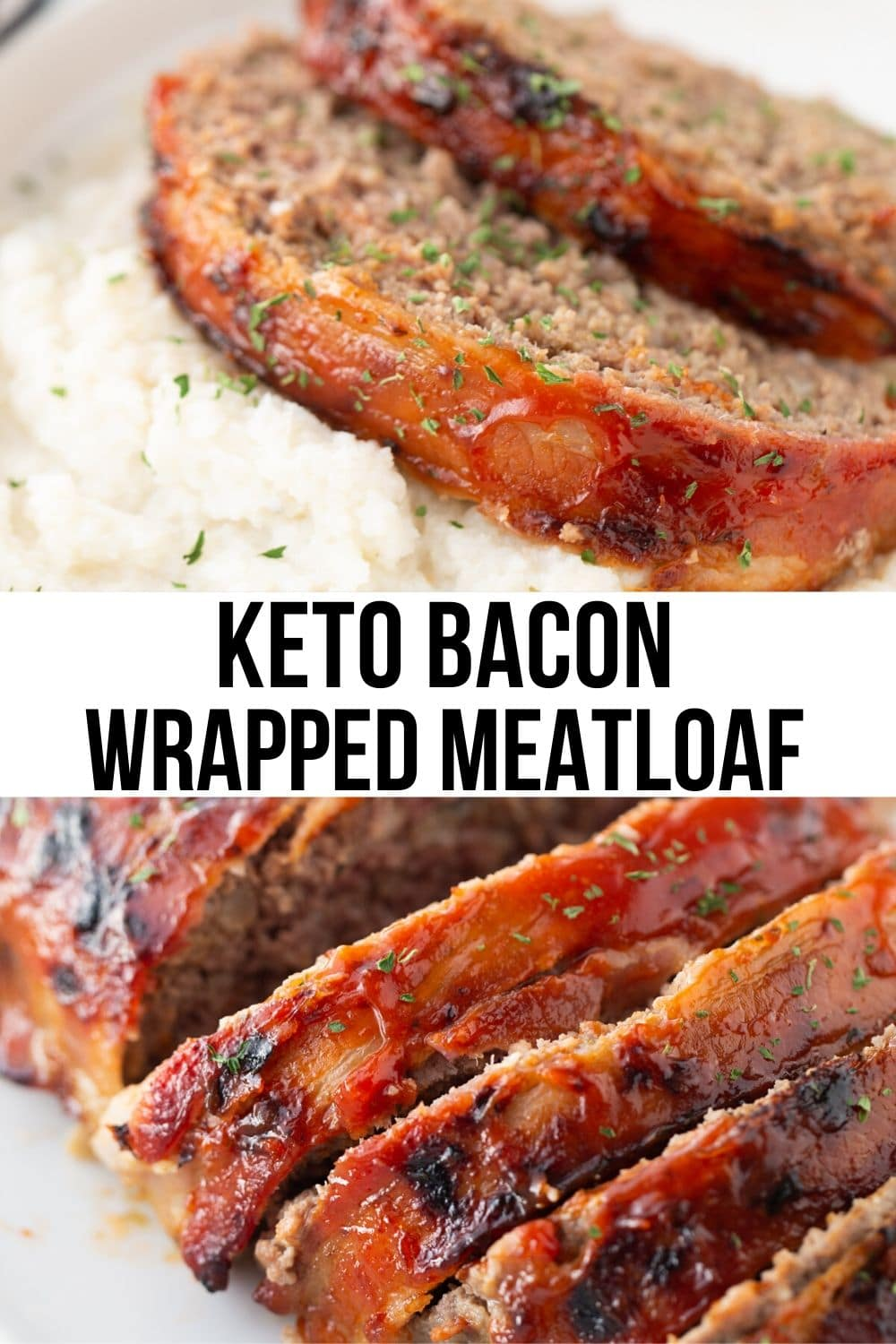keto meatloaf slices served over mashed potatoes on white plate