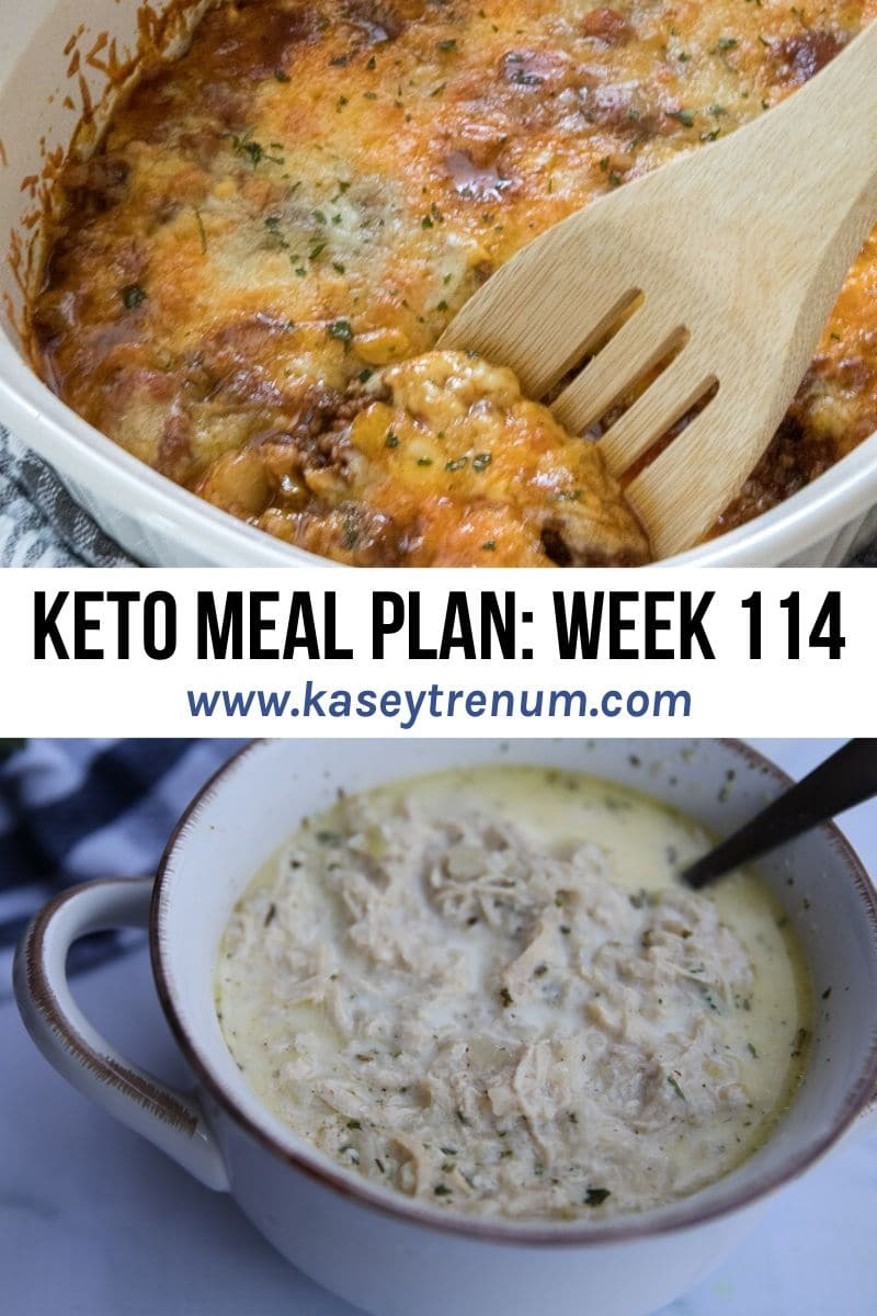 keto meal plan graphic with two keto recipe images