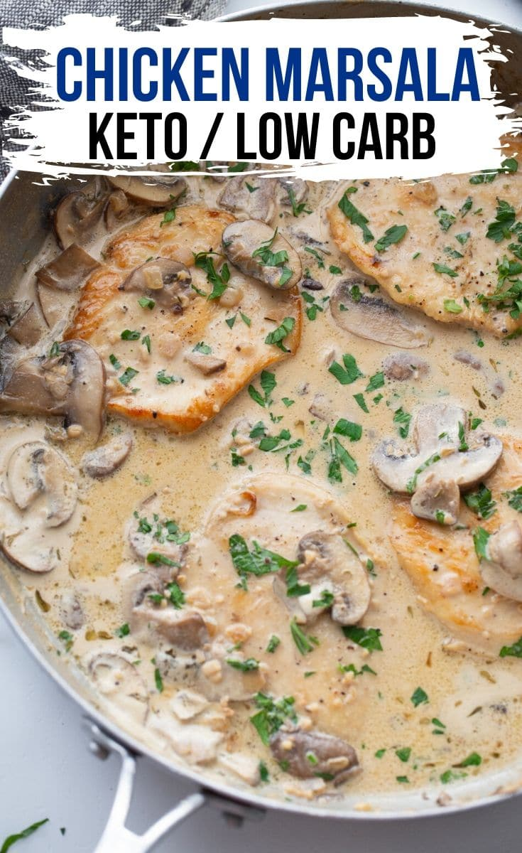 keto chicken marsala breasts with a cream sauce in a skillet