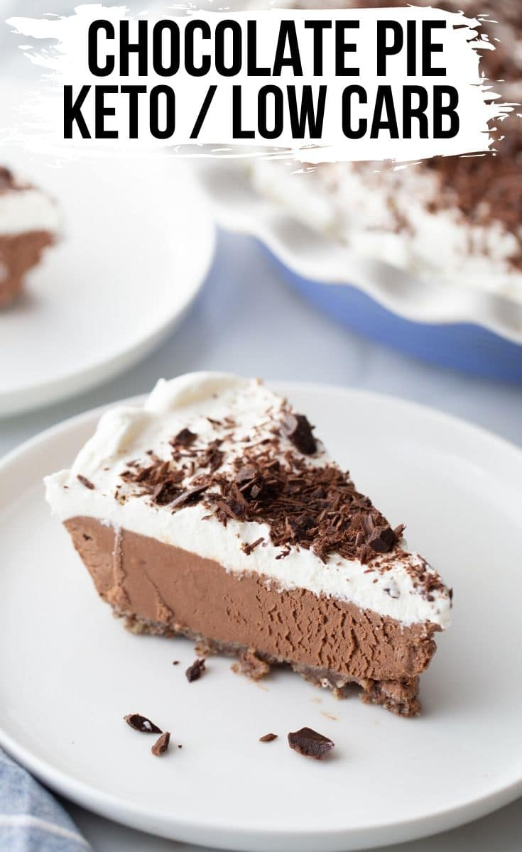 a slice of keto chocolate pie on a white plate with chocolate shavings
