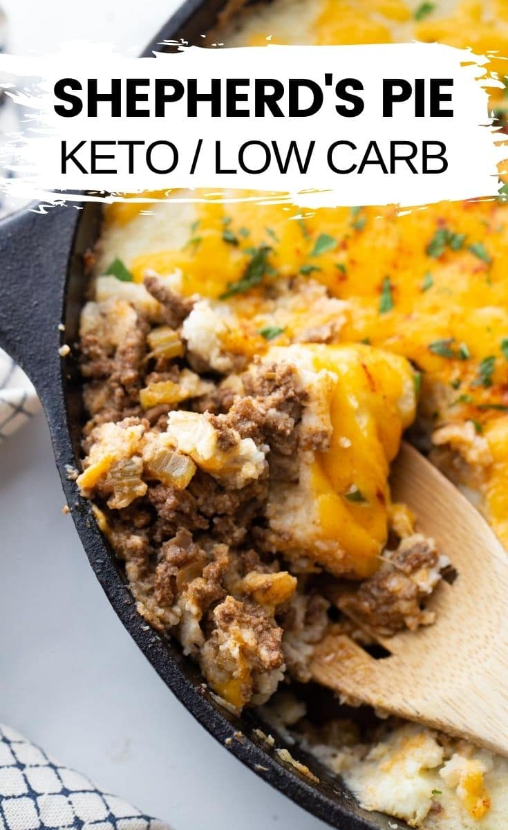 """sheppards pie in a cast iron skillet with text overlay """"sheppards pie keto/low carb"""""""