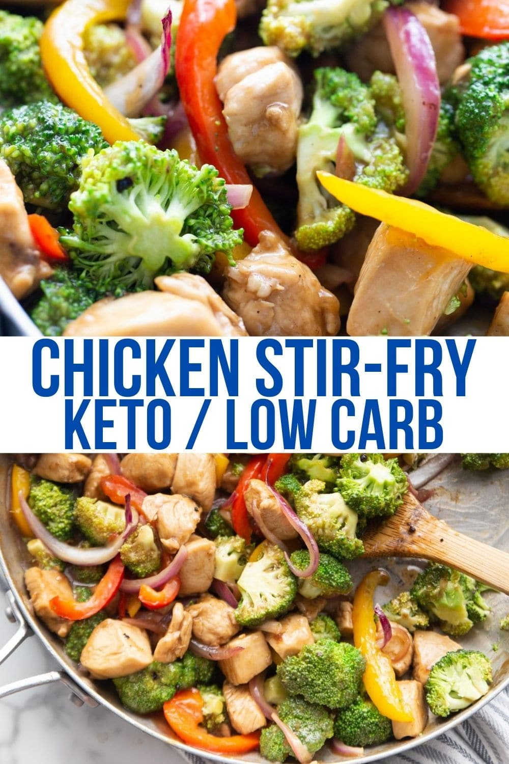 keto stir fry with chicken and broccoli and veggies in a skillet