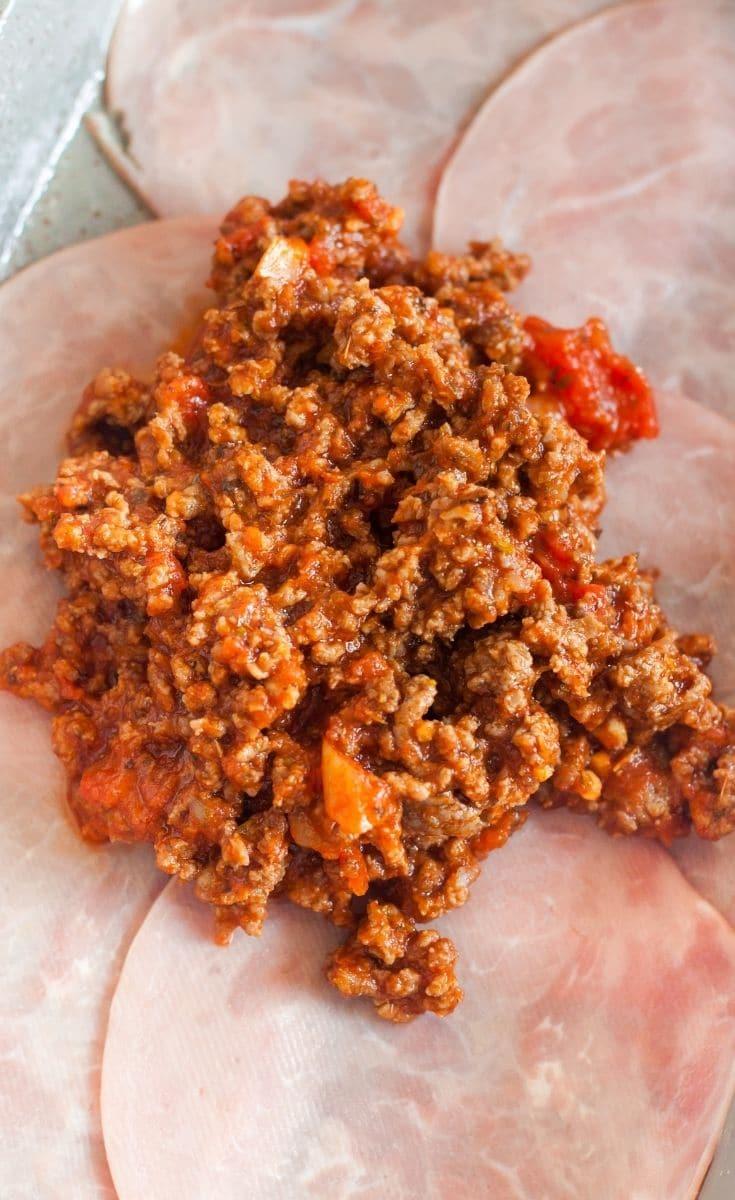 Bottom layer of a keto pizza casserole