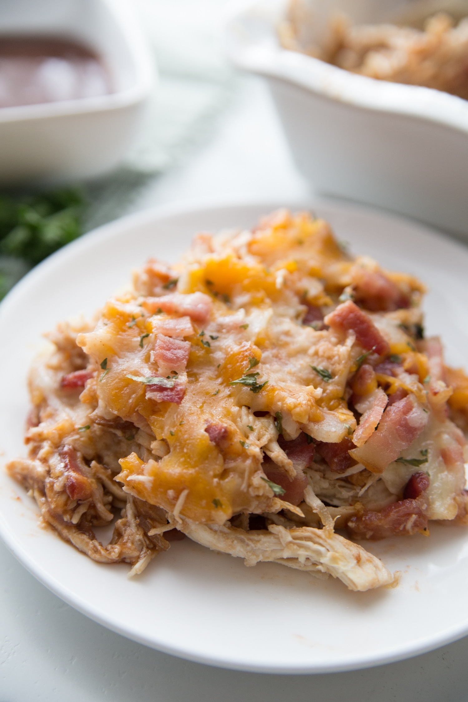serving bbq keto chicken casserole on a plate