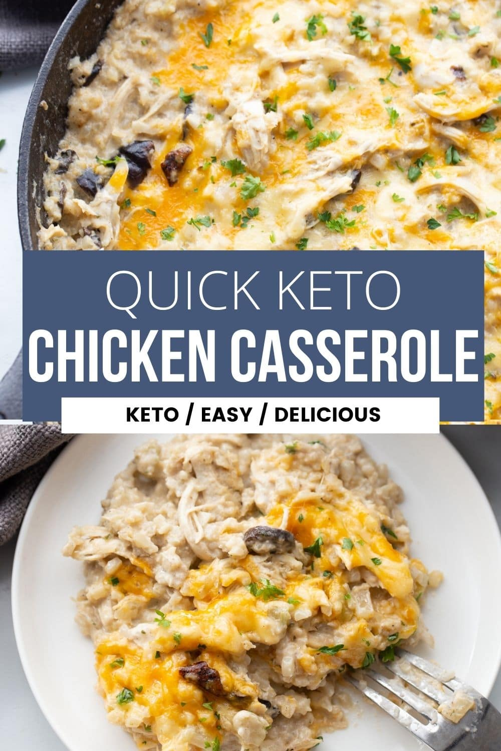 keto chicken and riced cauliflower casserole with cheese in a skillet and on a plate
