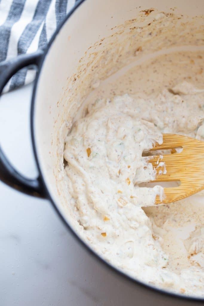 cream cheese, veggies in a dutch oven