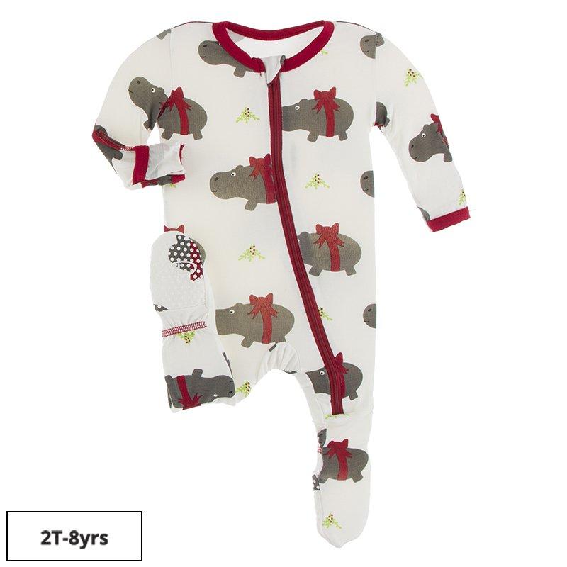 kicked pants Christmas hippos footed jammies