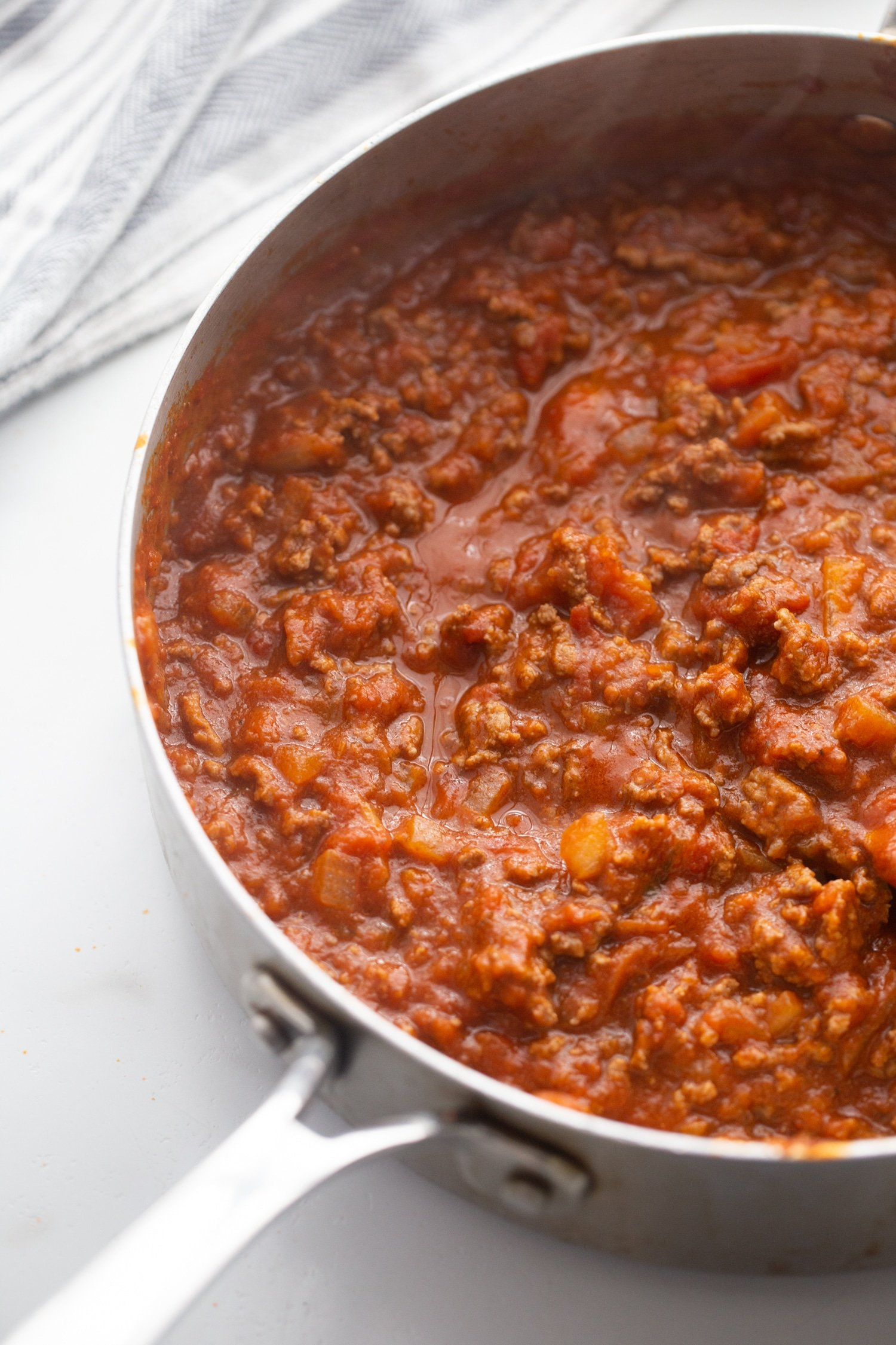 low carb spaghetti sauce in skillet for keto spaghetti casserole