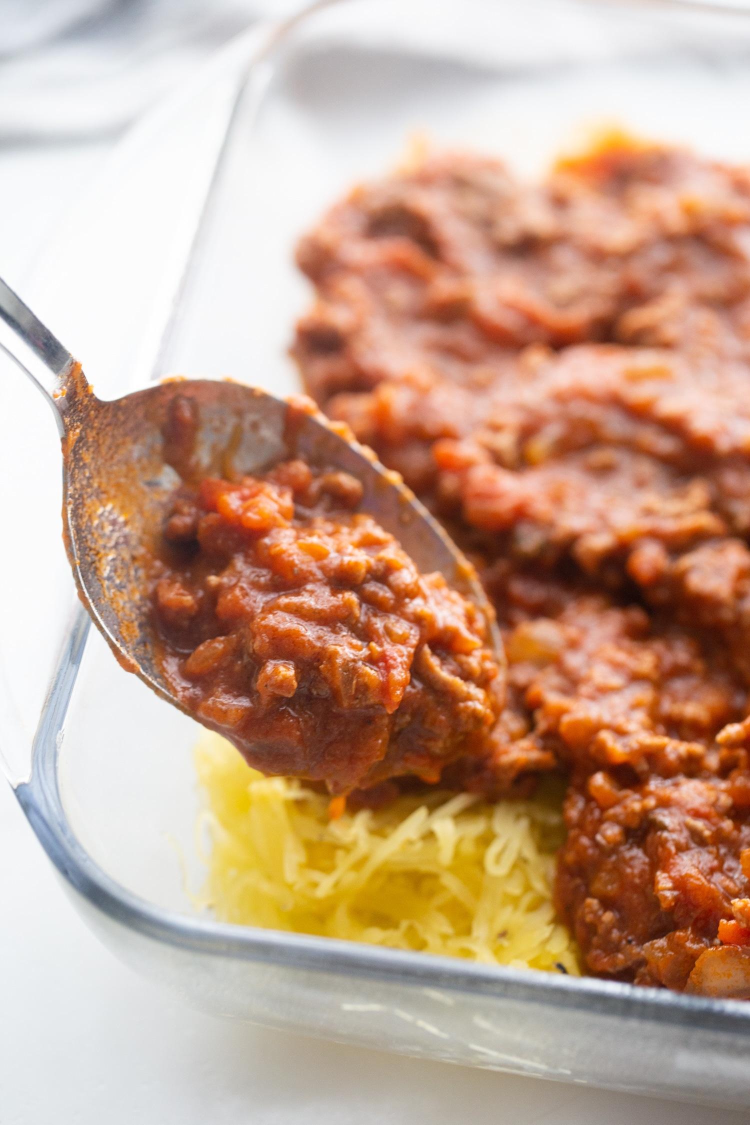 low carb spaghetti sauce on top of spaghetti squash