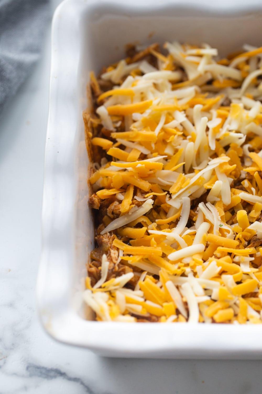keto chicken enchilada casserole in a pan