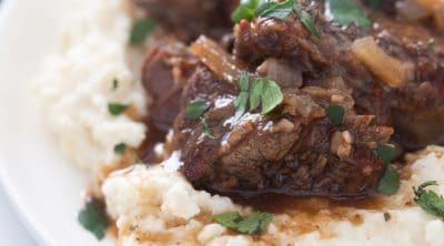 beef short ribs keto plated on mashed cauliflower