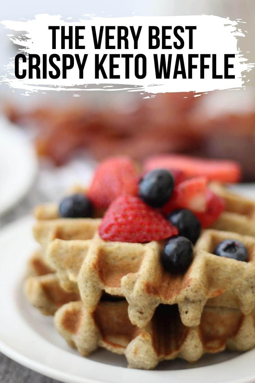 keto waffle plated with fresh fruit